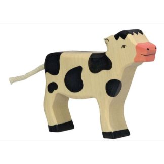 Holztiger Calf Standing Black (80005) Wooden Animal Figure | LeVida Toys