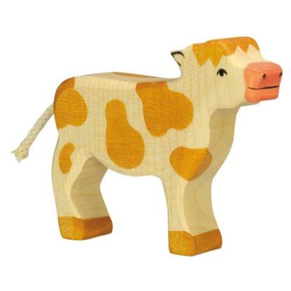 Calf, standing, brown - Holztiger 80012