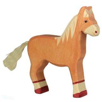 Horse, standing, light brown - Holztiger 80033