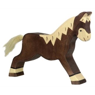 Horse, running dark brown - Holztiger 80034
