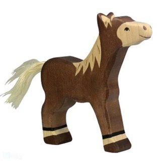 Foal, standing, dark brown - Holztiger 80042