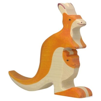 Holztiger Kangaroo with young (80193) Wooden Figure | LeVida Toys