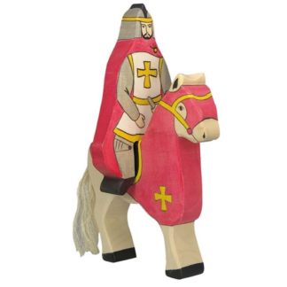 Red knight with cloak, riding (without horse) - Holztiger 80246