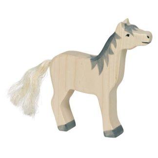 Horse, head raised, grey mane - Holztiger 80360