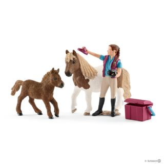 Schleich Stablehand with Shetland Ponies Set - 42362