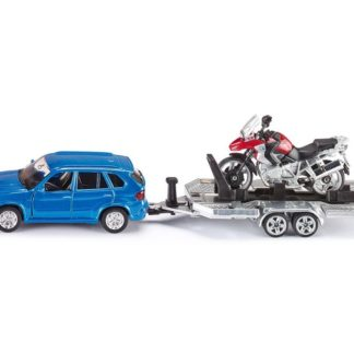 BMW X5 Car with Trailer & BMW R1200GS Motorbike - Siku 2547