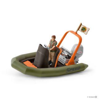 Schleich Dinghy With Ranger Wild Life figure - 42352 | LeVida Toys