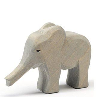 Ostheimer Elephant small trunk out wooden toy figure 20424   LeVida Toys