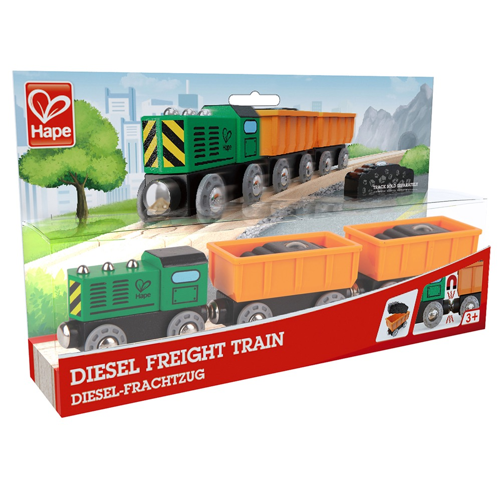 wooden railway hape diesel freight train levida toys