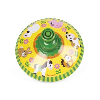 Janod Farm Metal Spinning Top (Green Top) | LeVida Toys