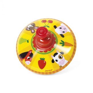 Janod Farm Metal Spinning Top (Red Top) | LeVida Toys