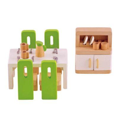 Hape Dining Room dolls house furniture set (E3454) | LeVida Toys