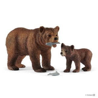 Grizzly Bear Mother with Cub (Schleich 42473) | LeVida Toys