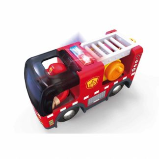 Fire Truck with Siren for Wooden Railway (Hape E3737) | LeVida Toys