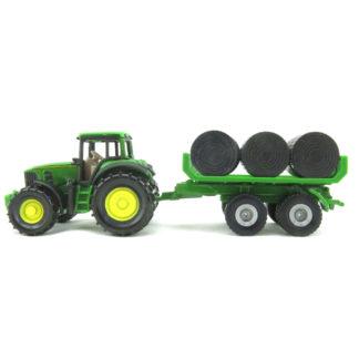 Siku John Deere 7530 Tractor with Bale Trailer Miniature Die Cast | LeVida Toys