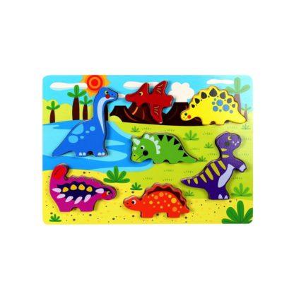 Wooden Dinosaur Chunky Puzzle by Tooky Toys | LeVida Toys