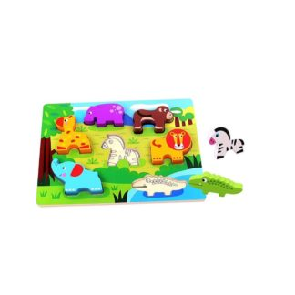 Wooden Animal Chunky Puzzle by Tooky Toys | LeVida Toys