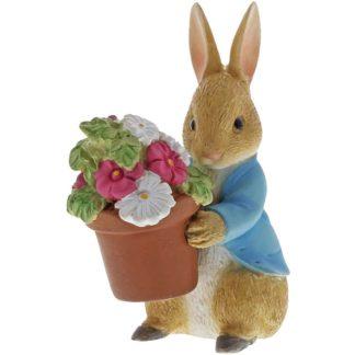 Peter Rabbit Brings Flowers Mini Figurine | LeVida Toys
